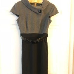 Black & Grey Belted Dress